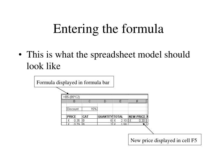 Entering the formula