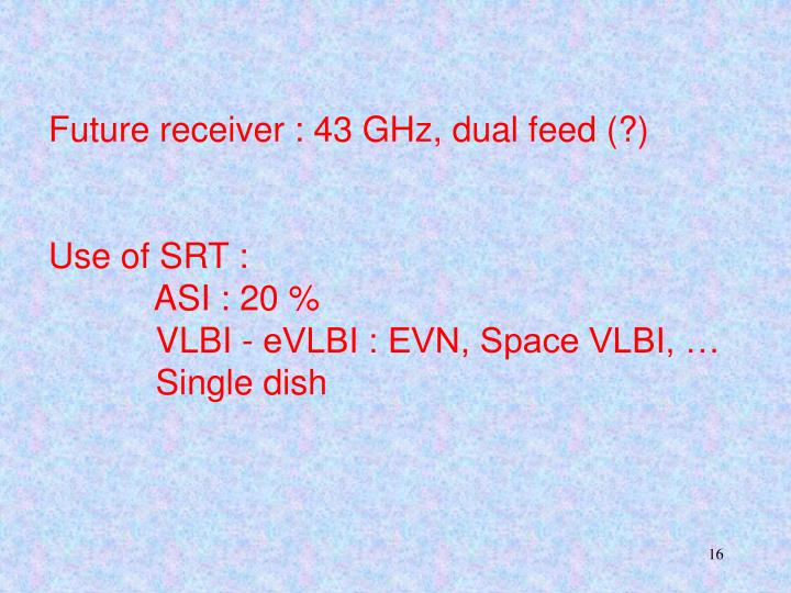 Future receiver : 43 GHz, dual feed (?)