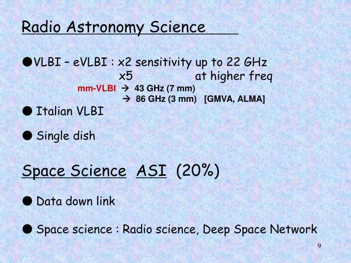 Radio Astronomy Science