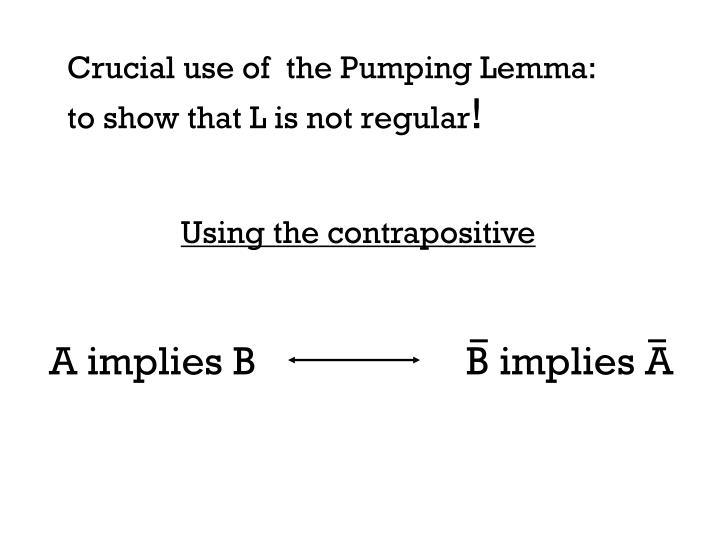 Crucial use of  the Pumping Lemma: