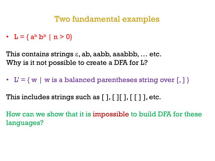 Two fundamental examples