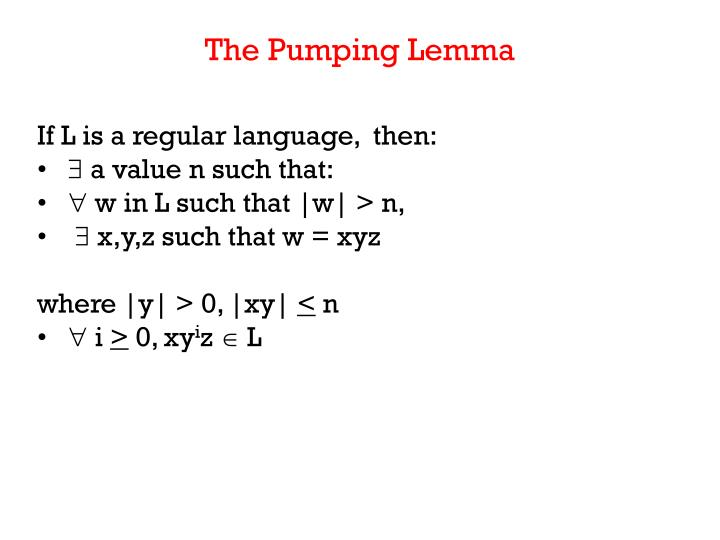 The Pumping Lemma
