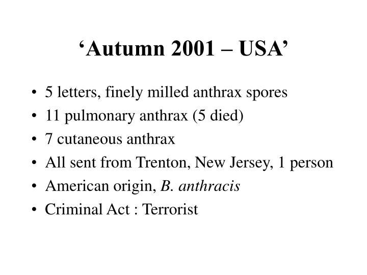 'Autumn 2001 – USA'