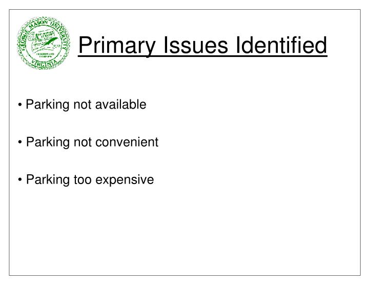 Primary issues identified