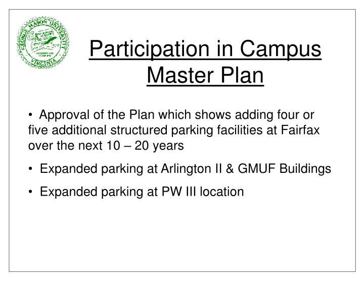 Participation in Campus Master Plan