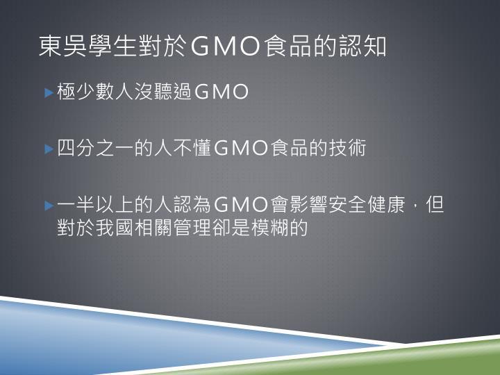 東吳學生對於gmo食品的認知