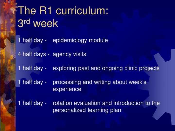 The R1 curriculum: