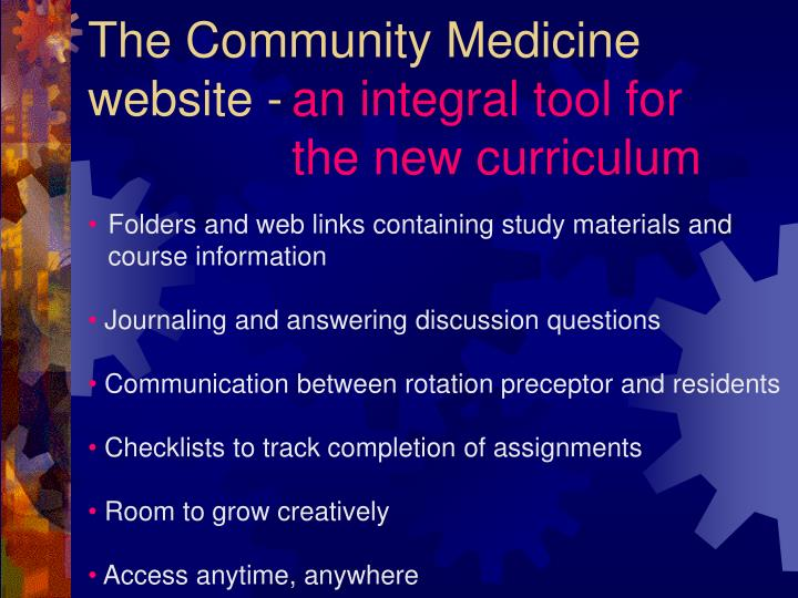 The Community Medicine website -