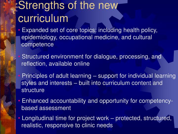Strengths of the new curriculum