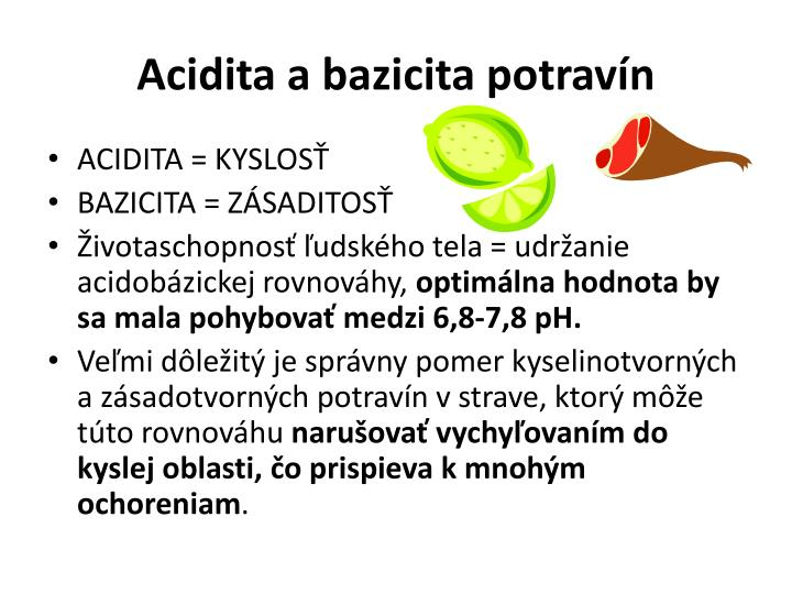 Acidita a bazicita potravín