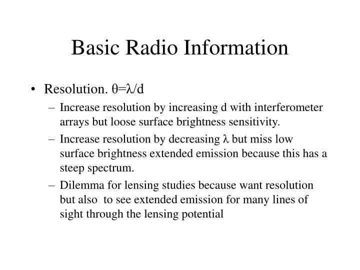 Basic Radio Information