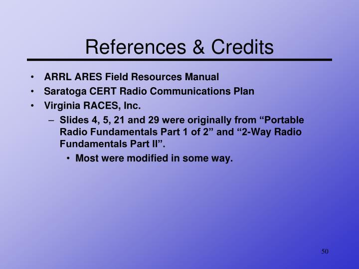References & Credits