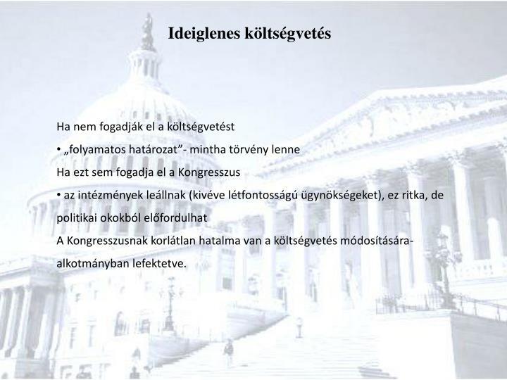Ideiglenes költségvetés