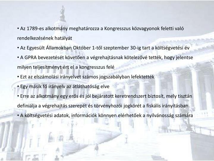 Az 1789-es alkotmány meghatározza a Kongresszus közvagyonok feletti való rendelkezésének hatályát