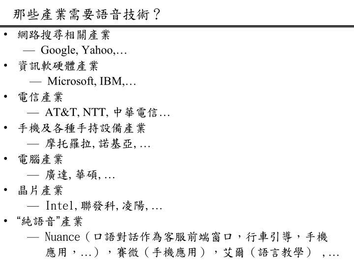 那些產業需要語音技術?