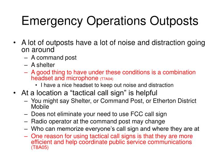 Emergency Operations Outposts