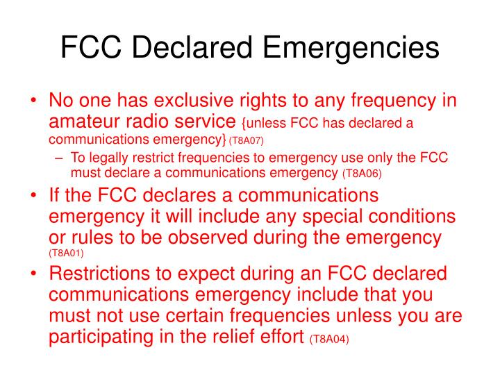 FCC Declared Emergencies
