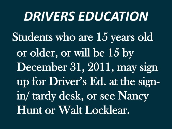 DRIVERS EDUCATION