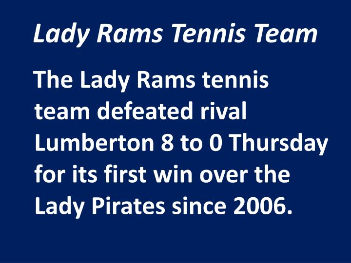 Lady Rams Tennis Team