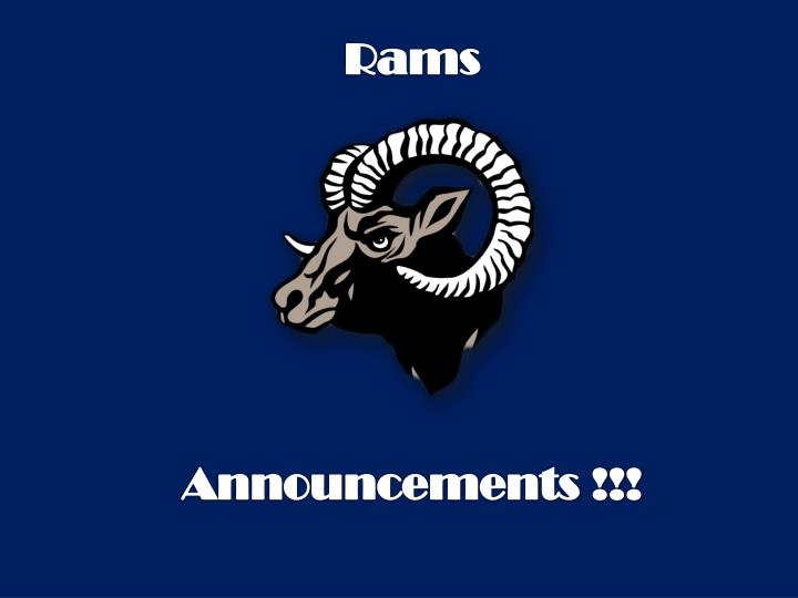 Rams announcements