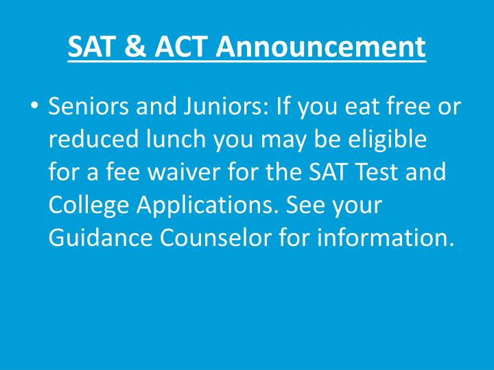 SAT & ACT Announcement