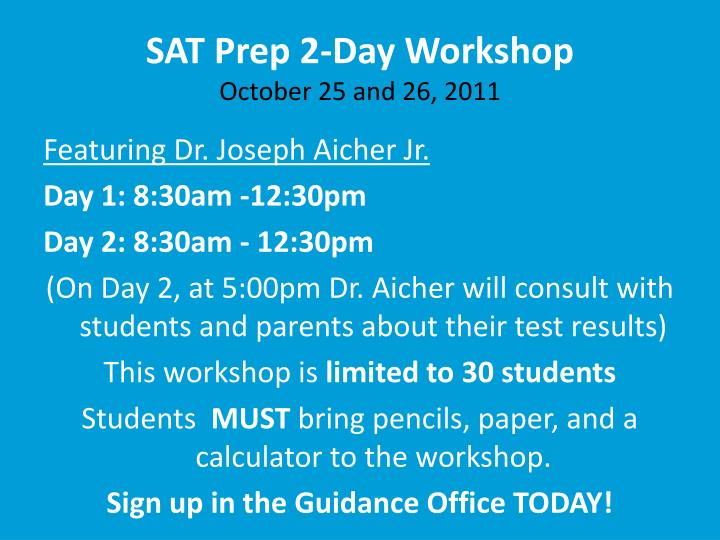 SAT Prep 2-Day Workshop