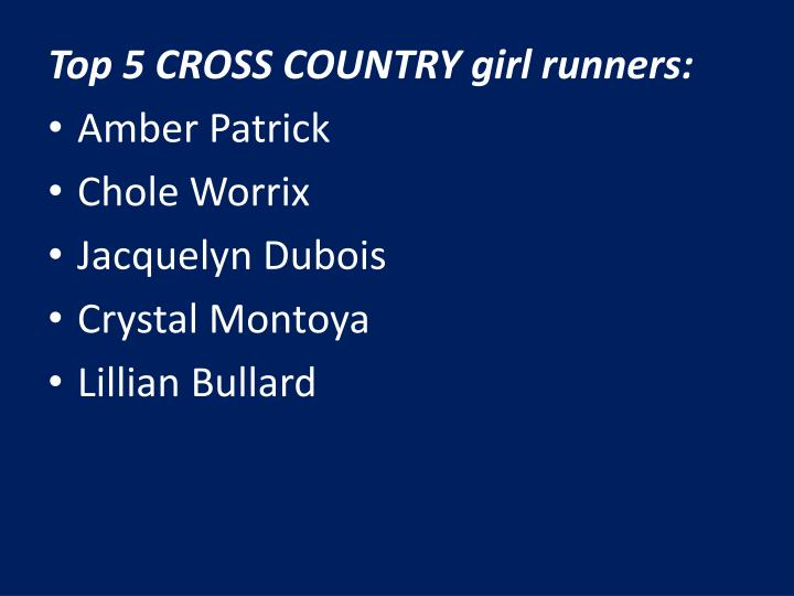 Top 5 CROSS COUNTRY girl runners: