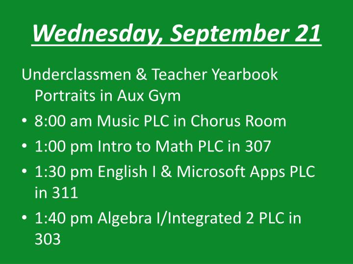 Wednesday, September 21