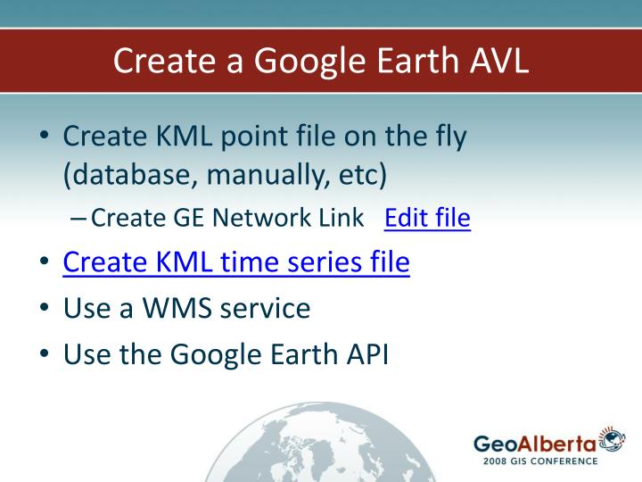 Create a Google Earth AVL