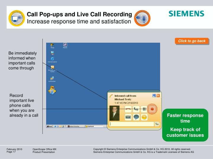Call Pop-ups and Live Call Recording