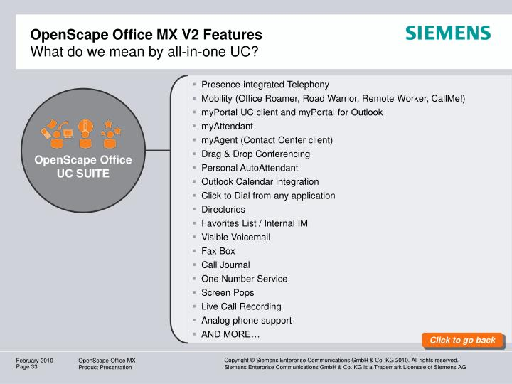 OpenScape Office MX V2 Features