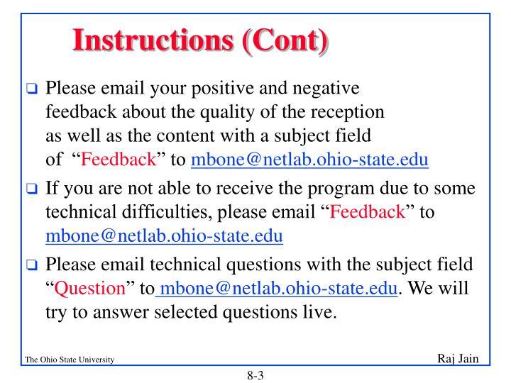Instructions (Cont)