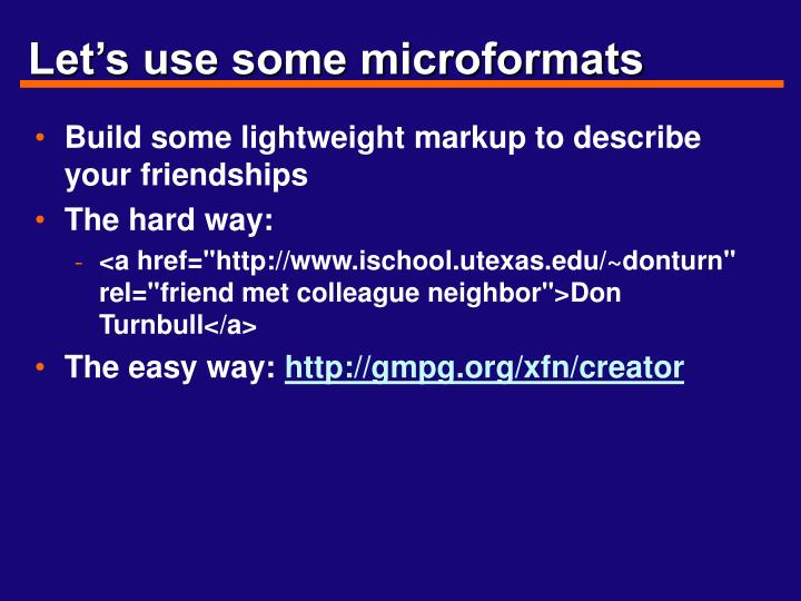 Let's use some microformats