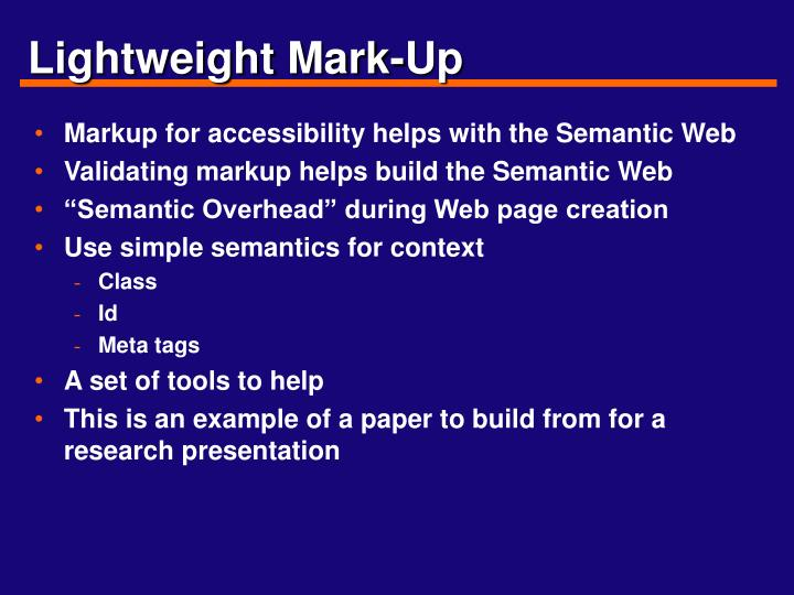 Lightweight Mark-Up