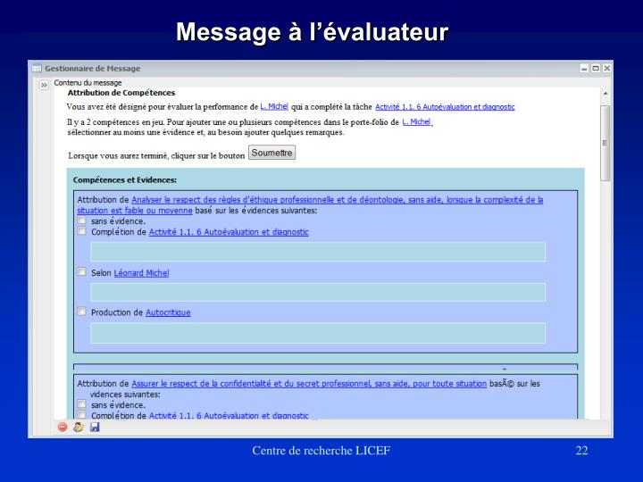 Message à l'évaluateur