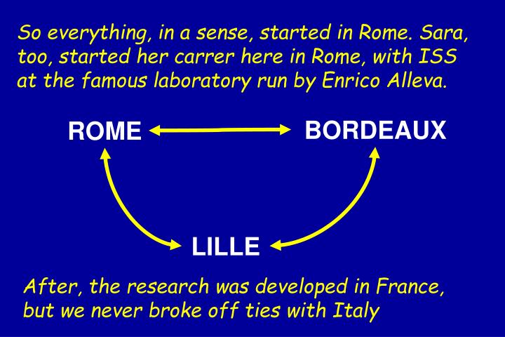 So everything, in a sense, started in Rome. Sara, too, started her carrer here in Rome, with ISS at the famous laboratory run by Enrico Alleva.