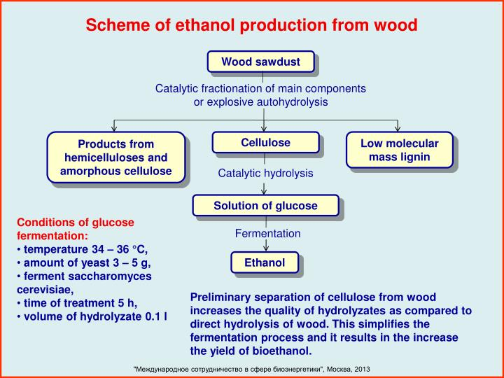 Scheme of ethanol production from wood