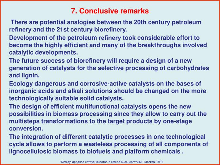 7. Conclusive remarks