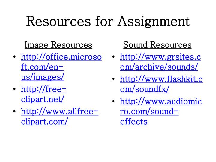 Resources for Assignment