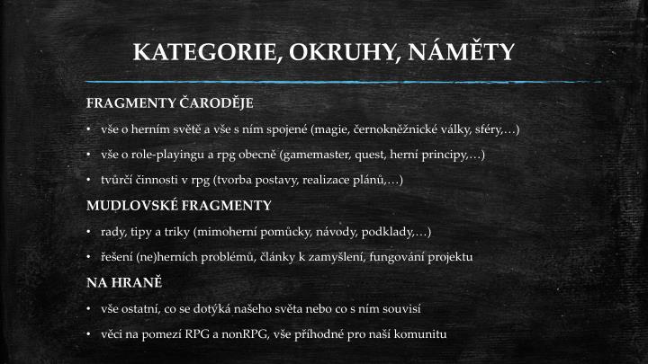 KATEGORIE, OKRUHY, NÁMĚTY