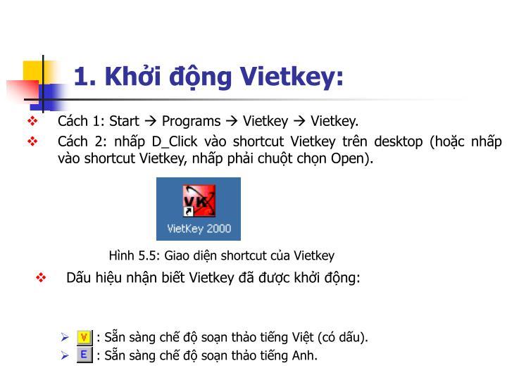 1. Khởi động Vietkey: