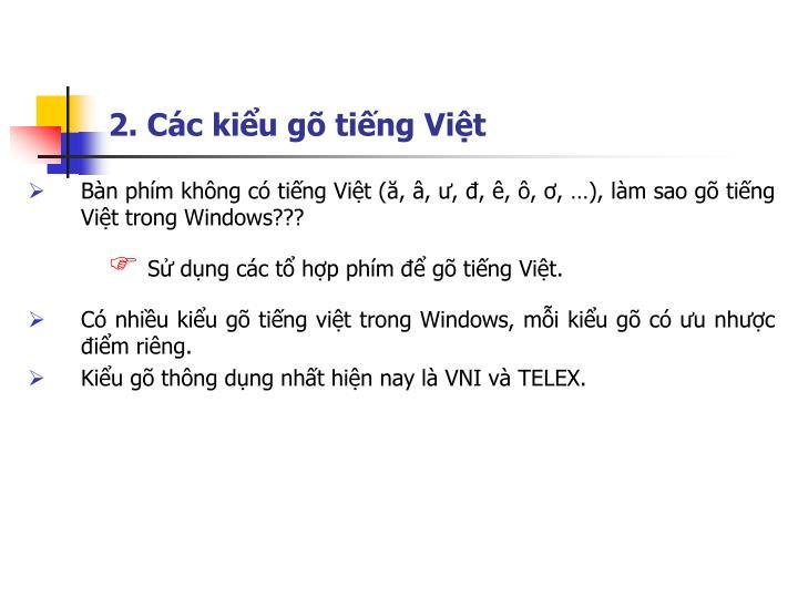 2. Các kiểu gõ tiếng Việt