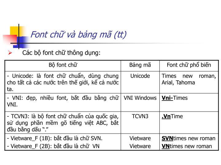 Font chữ và bảng mã (tt)