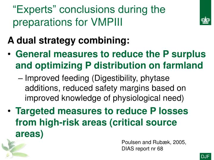 """Experts"" conclusions during the preparations for VMPIII"