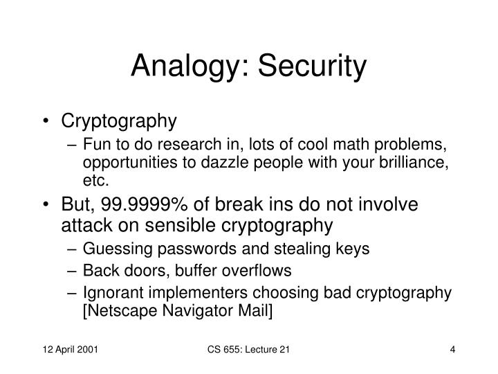 Analogy: Security