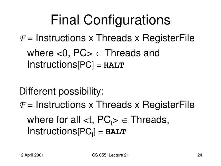 Final Configurations