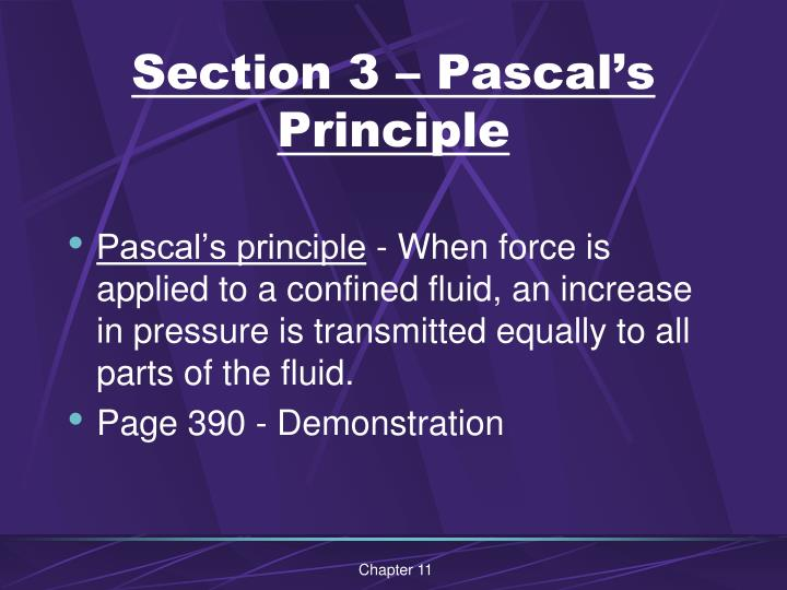 Section 3 – Pascal's Principle