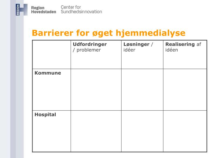Barrierer for øget hjemmedialyse