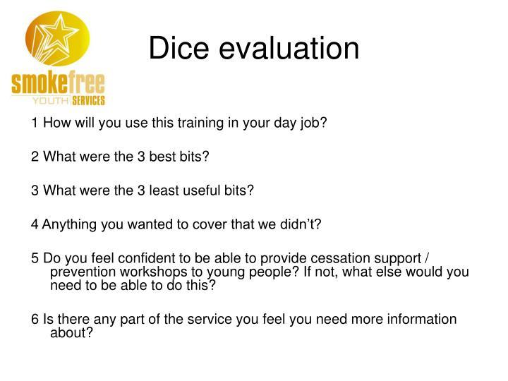 Dice evaluation
