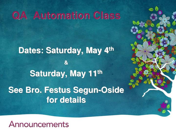 QA  Automation Class